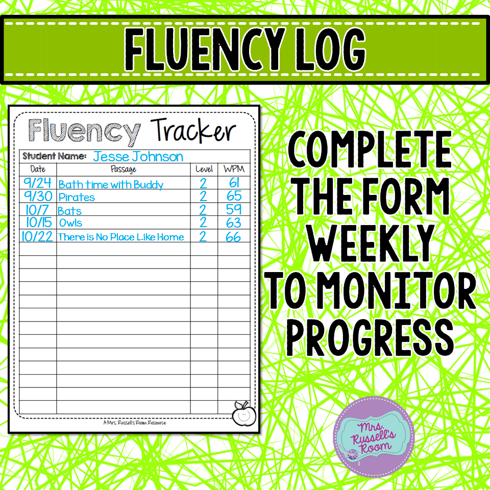 Keep track of your students' weekly fluency with a chart. I give my  students a new fluency each week. I also keep the fluency on the same level  for a while.