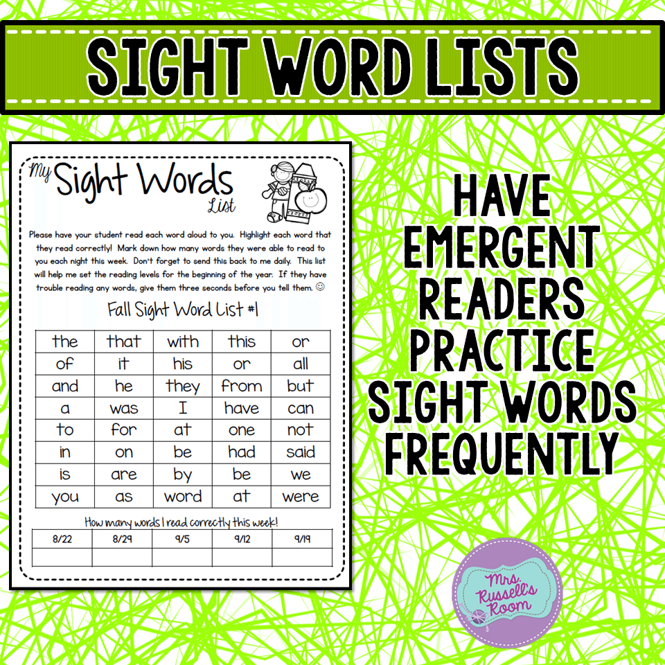 I have a list of sight words that I put in my folders as well. Use the ones  that go with your basal, or a specific program such as Fry or Dolch.