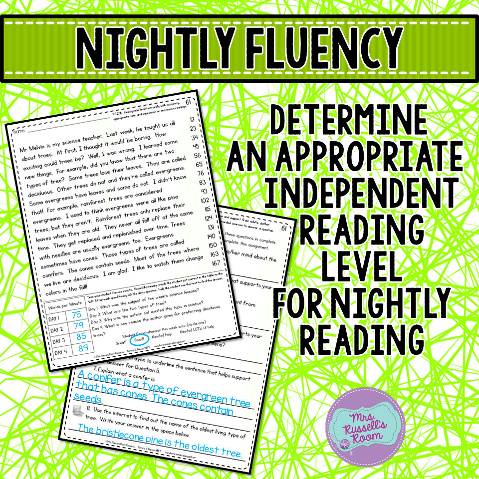Make sure that there is follow through on the nightly fluency. If the  students are struggling, they need a lower passage. If they are reading too  quickly, ...