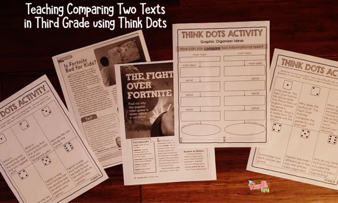 Articles on Fortnite, a graphic organizer and Think Dots question pages